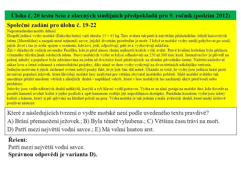 Úloha č.20 testu Scio z obecných studijních předpokladů pro 9.
