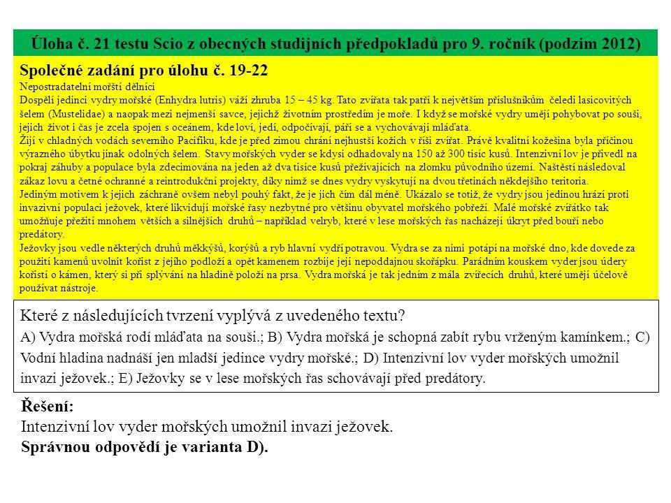 Úloha č.21 testu Scio z obecných studijních předpokladů pro 9.