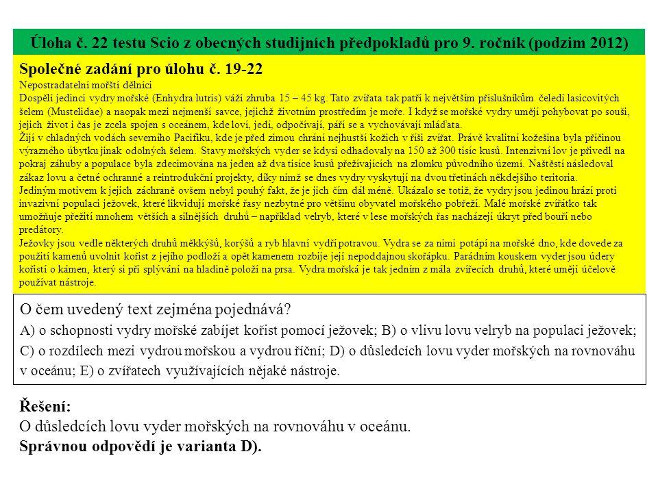 Úloha č.22 testu Scio z obecných studijních předpokladů pro 9.