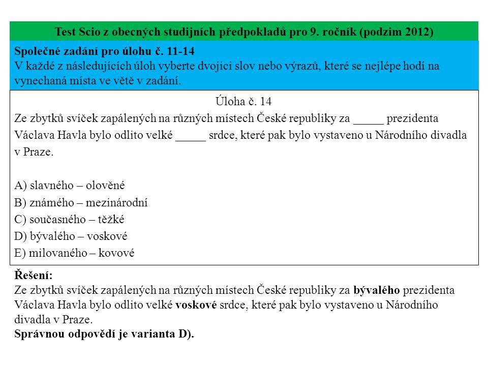 Úloha č.15 testu Scio z obecných studijních předpokladů pro 9.