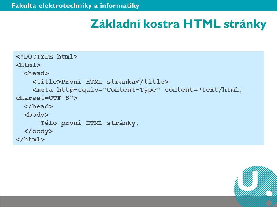 Základní kostra HTML stránky První HTML stránka Tělo první HTML stránky.