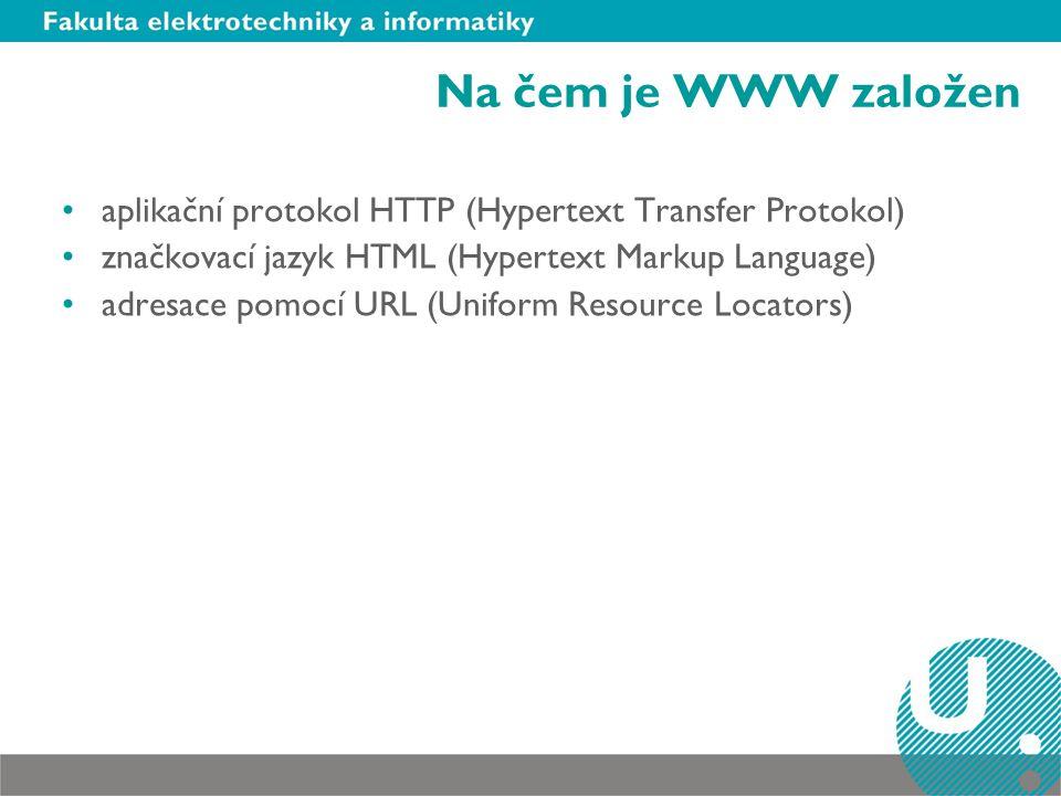 Na čem je WWW založen aplikační protokol HTTP (Hypertext Transfer Protokol) značkovací jazyk HTML (Hypertext Markup Language) adresace pomocí URL (Uniform Resource Locators)