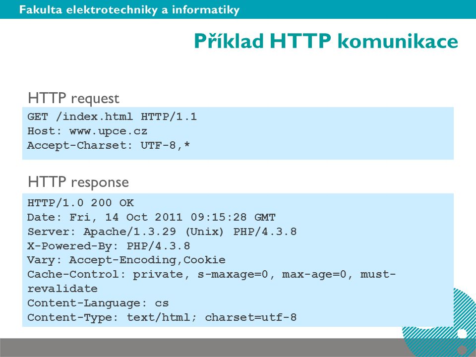 Příklad HTTP komunikace HTTP request HTTP response GET /index.html HTTP/1.1 Host: www.upce.cz Accept-Charset: UTF-8,* HTTP/1.0 200 OK Date: Fri, 14 Oct 2011 09:15:28 GMT Server: Apache/1.3.29 (Unix) PHP/4.3.8 X-Powered-By: PHP/4.3.8 Vary: Accept-Encoding,Cookie Cache-Control: private, s-maxage=0, max-age=0, must- revalidate Content-Language: cs Content-Type: text/html; charset=utf-8