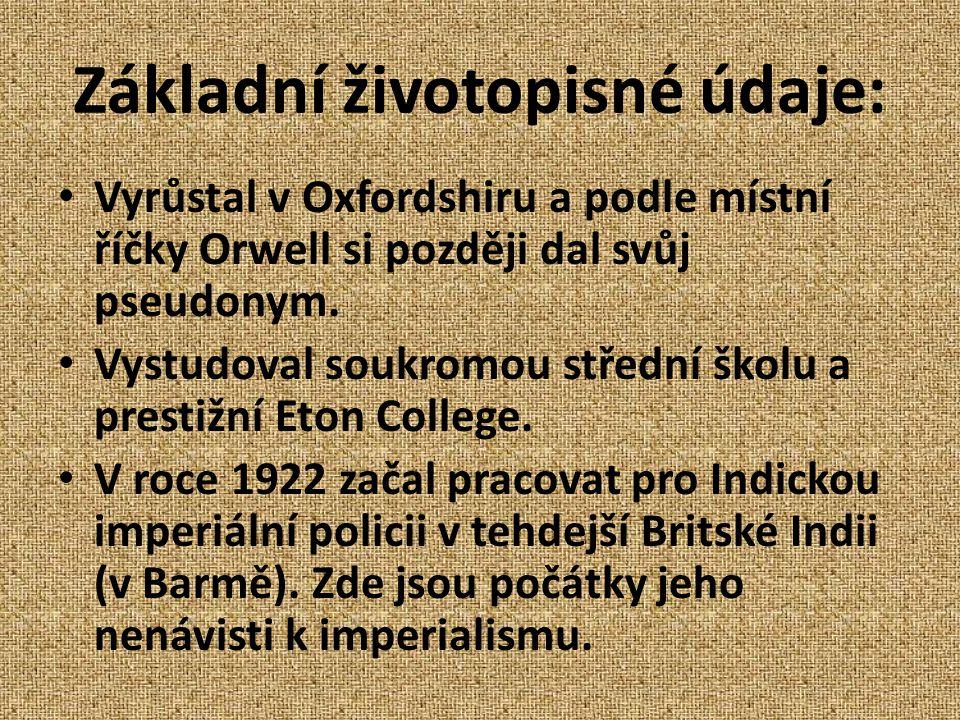 Základní životopisné údaje: Vyrůstal v Oxfordshiru a podle místní říčky Orwell si později dal svůj pseudonym.