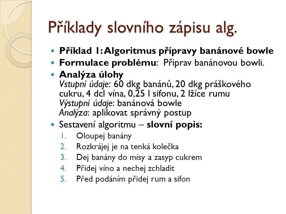 Příklady slovního zápisu alg.