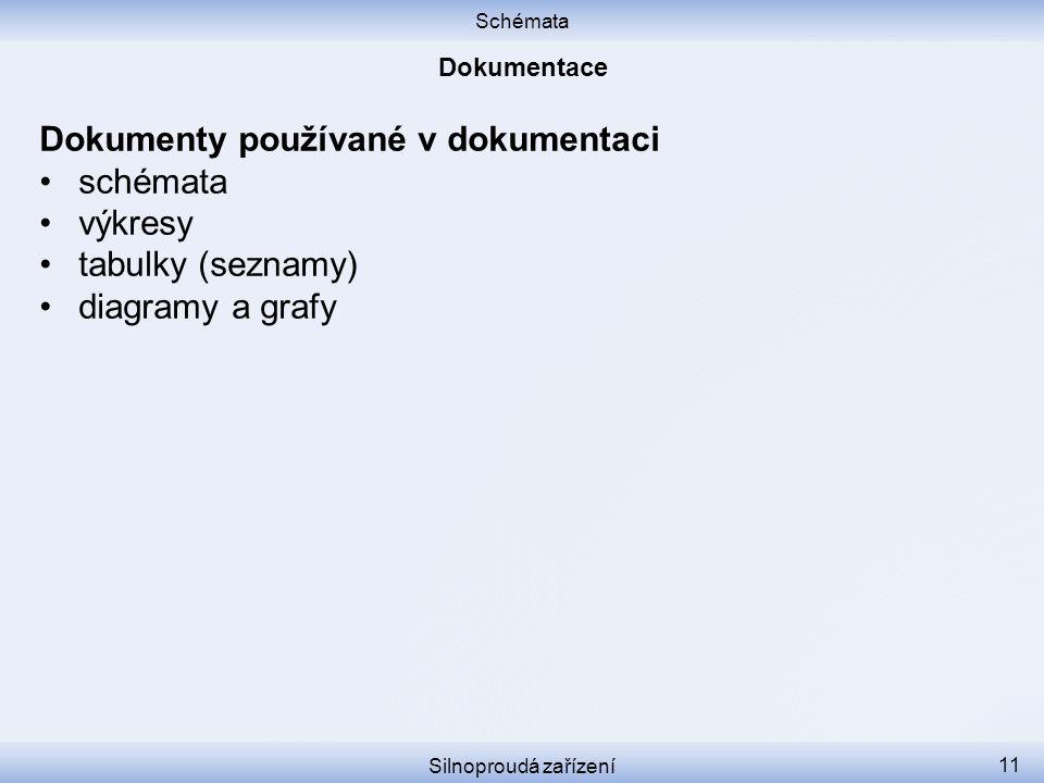 Schémata Silnoproudá zařízení 11 Dokumenty používané v dokumentaci schémata výkresy tabulky (seznamy) diagramy a grafy