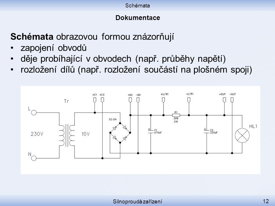 Schémata Silnoproudá zařízení 12 Schémata obrazovou formou znázorňují zapojení obvodů děje probíhající v obvodech (např. průběhy napětí) rozložení díl