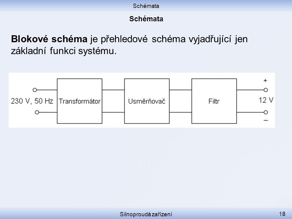 Schémata Silnoproudá zařízení 18 Blokové schéma je přehledové schéma vyjadřující jen základní funkci systému.