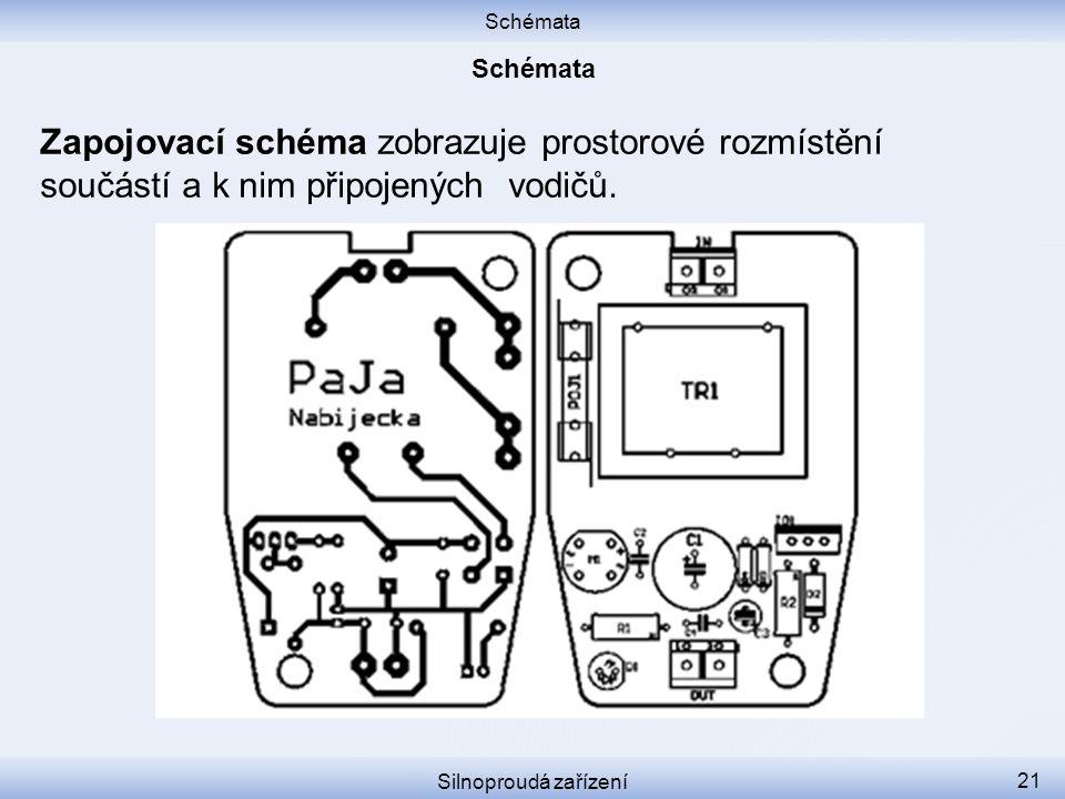 Schémata Silnoproudá zařízení 21 Zapojovací schéma zobrazuje prostorové rozmístění součástí a k nim připojených vodičů.
