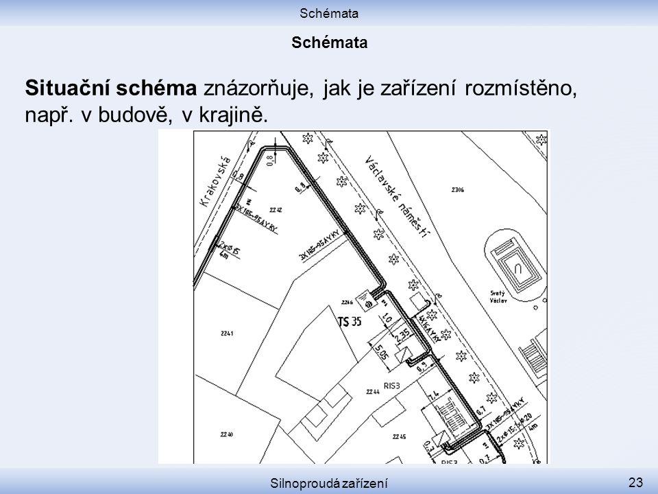 Schémata Silnoproudá zařízení 23 Situační schéma znázorňuje, jak je zařízení rozmístěno, např. v budově, v krajině.
