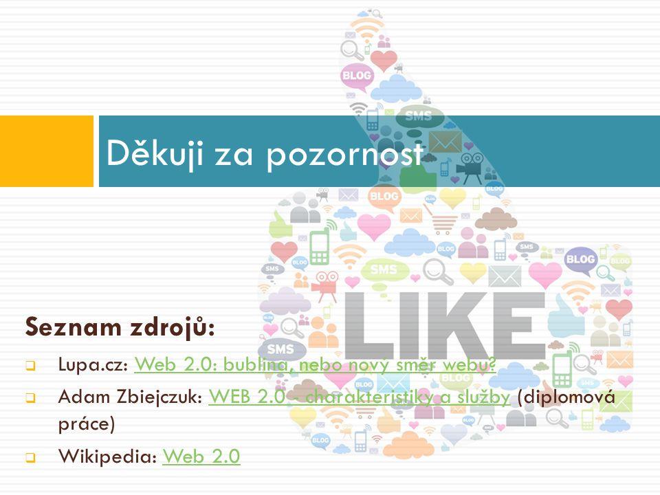 Seznam zdrojů:  Lupa.cz: Web 2.0: bublina, nebo nový směr webu Web 2.0: bublina, nebo nový směr webu.