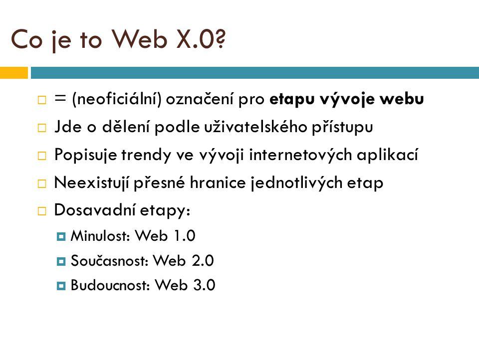 Seznam zdrojů:  Lupa.cz: Web 2.0: bublina, nebo nový směr webu?Web 2.0: bublina, nebo nový směr webu.