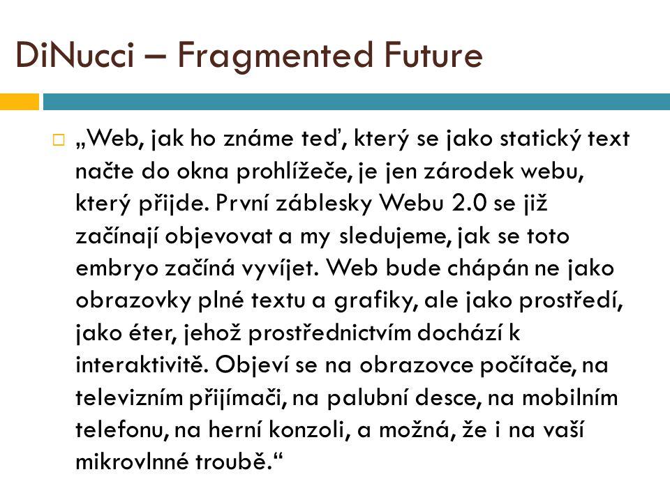 """DiNucci – Fragmented Future  """"Web, jak ho známe teď, který se jako statický text načte do okna prohlížeče, je jen zárodek webu, který přijde."""