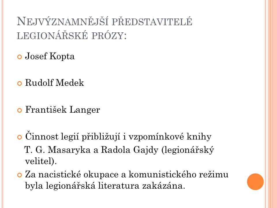 N EJVÝZNAMNĚJŠÍ PŘEDSTAVITELÉ LEGIONÁŘSKÉ PRÓZY : Josef Kopta Rudolf Medek František Langer Činnost legií přibližují i vzpomínkové knihy T. G. Masaryk