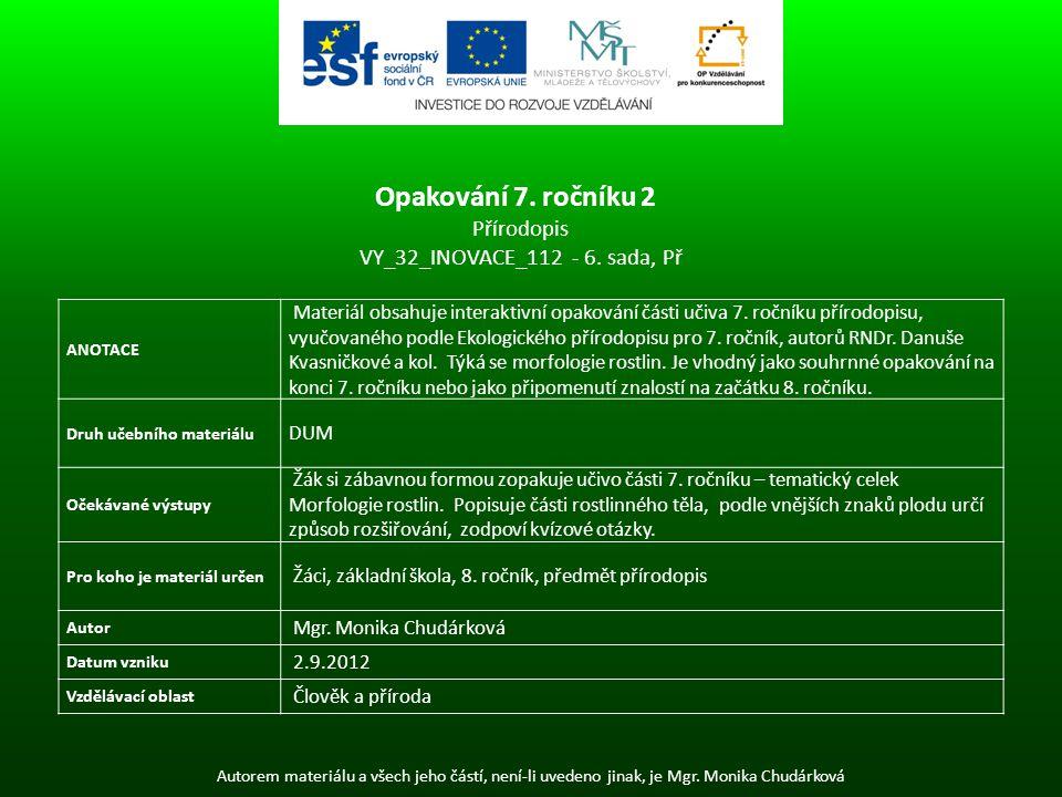 Autorem materiálu a všech jeho částí, není-li uvedeno jinak, je Mgr. Monika Chudárková ANOTACE Materiál obsahuje interaktivní opakování části učiva 7.