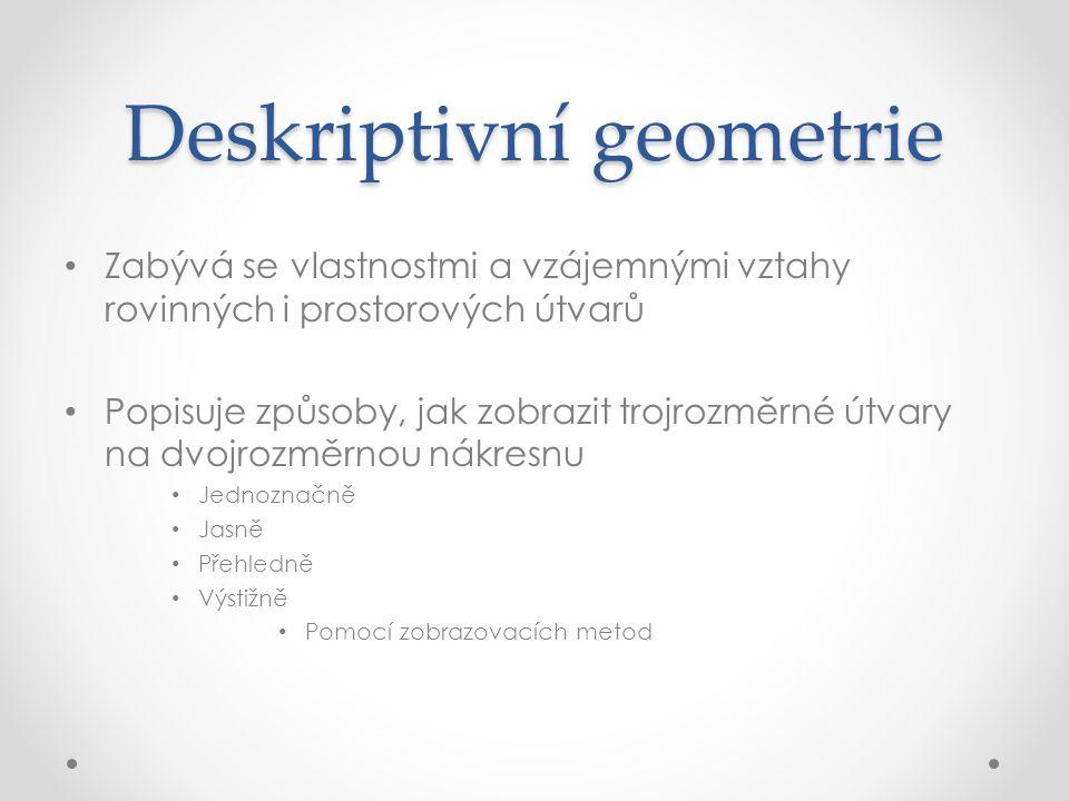 Deskriptivní geometrie Zabývá se vlastnostmi a vzájemnými vztahy rovinných i prostorových útvarů Popisuje způsoby, jak zobrazit trojrozměrné útvary na