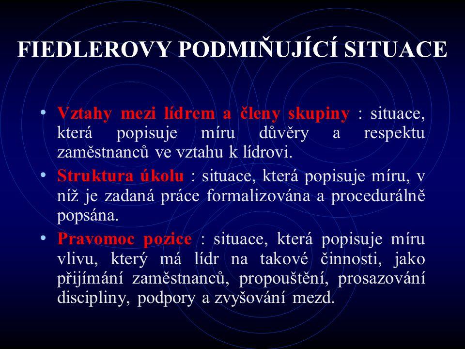 FIEDLEROVY PODMIŇUJÍCÍ SITUACE Vztahy mezi lídrem a členy skupiny : situace, která popisuje míru důvěry a respektu zaměstnanců ve vztahu k lídrovi. St
