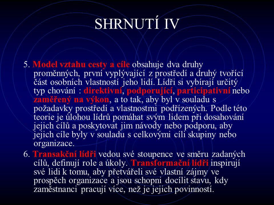SHRNUTÍ IV 5. Model vztahu cesty a cíle obsahuje dva druhy proměnných, první vyplývající z prostředí a druhý tvořící část osobních vlastností jeho lid
