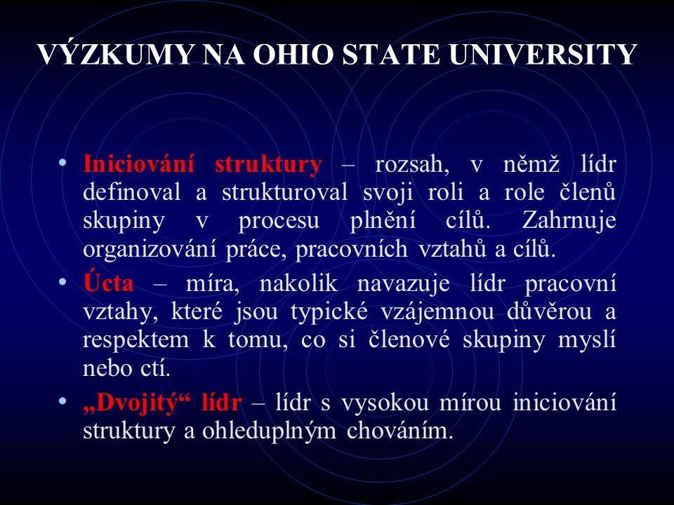VÝZKUMY NA OHIO STATE UNIVERSITY Iniciování struktury – rozsah, v němž lídr definoval a strukturoval svoji roli a role členů skupiny v procesu plnění