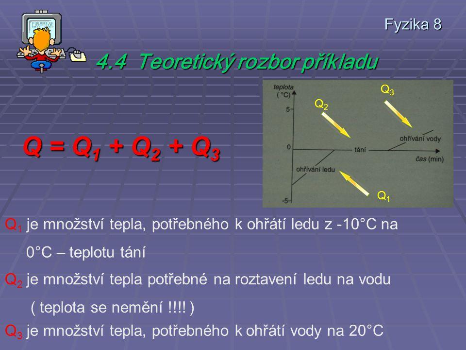 Fyzika 8 4.3 Zápis zadaných údajů m l = 1 kg t l = – 10° C c l = 2,1 kJ / kg.°C l tl = 334 kJ /kg m v = 1 kg c v = 4,2 kJ / kg.°C t v = 20° C Q = .
