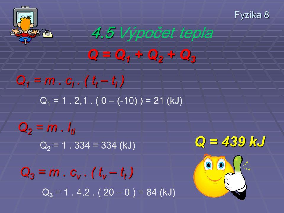 Fyzika 8 4.4 Teoretický rozbor příkladu Q = Q 1 + Q 2 + Q 3 Q 1 je množství tepla, potřebného k ohřátí ledu z -10°C na 0°C – teplotu tání Q 2 je množství tepla potřebné na roztavení ledu na vodu ( teplota se nemění !!!.