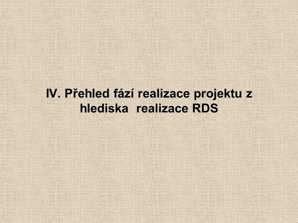 IV. Přehled fází realizace projektu z hlediska realizace RDS