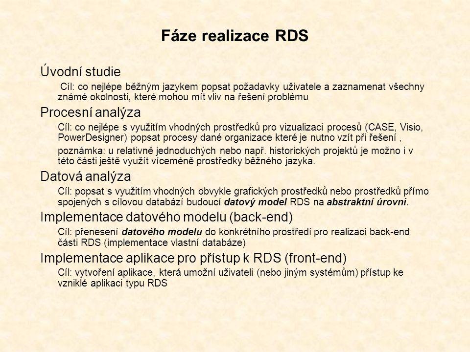 Fáze realizace RDS Úvodní studie Cíl: co nejlépe běžným jazykem popsat požadavky uživatele a zaznamenat všechny známé okolnosti, které mohou mít vliv na řešení problému Procesní analýza Cíl: co nejlépe s využitím vhodných prostředků pro vizualizaci procesů (CASE, Visio, PowerDesigner) popsat procesy dané organizace které je nutno vzít při řešení, poznámka: u relativně jednoduchých nebo např.