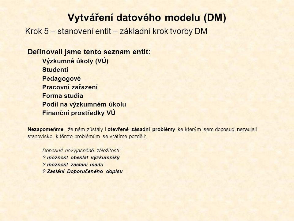 Vytváření datového modelu (DM) Krok 5 – stanovení entit – základní krok tvorby DM Definovali jsme tento seznam entit: Výzkumné úkoly (VÚ) Studenti Pedagogové Pracovní zařazení Forma studia Podíl na výzkumném úkolu Finanční prostředky VÚ Nezapomeňme, že nám zůstaly i otevřené zásadní problémy ke kterým jsem doposud nezaujali stanovisko, k těmto problémům se vrátíme později: Doposud nevyjasněné záležitosti: .