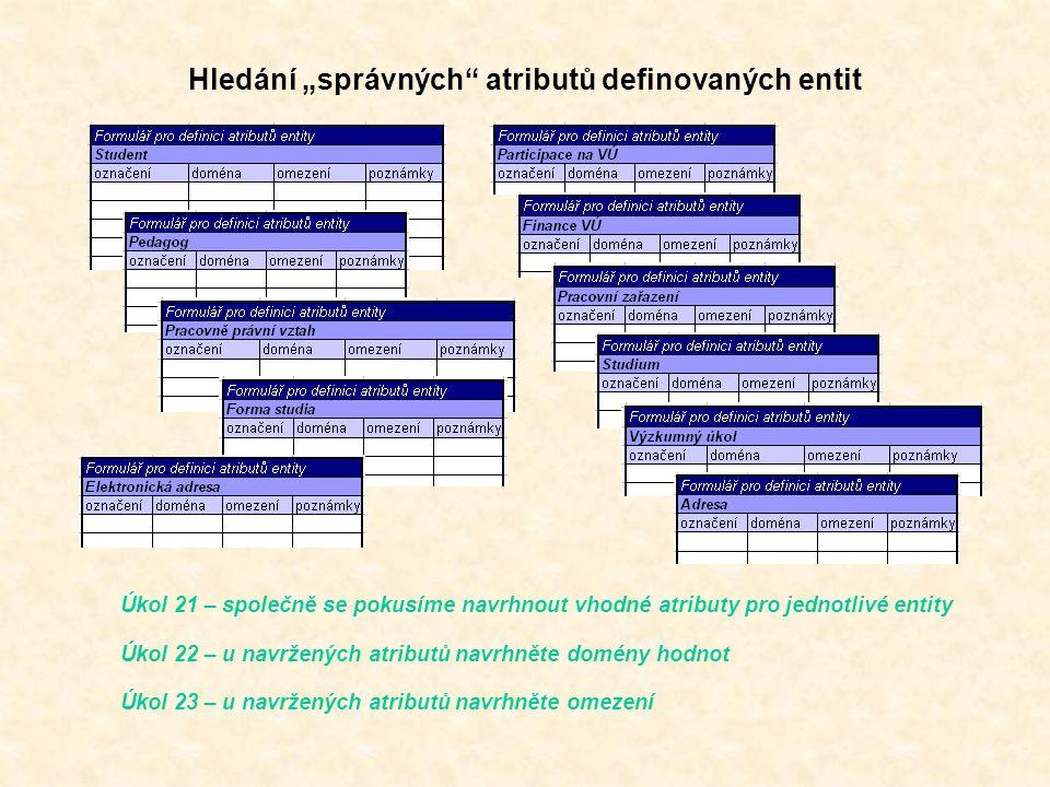 """Hledání """"správných atributů definovaných entit Úkol 21 – společně se pokusíme navrhnout vhodné atributy pro jednotlivé entity Úkol 22 – u navržených atributů navrhněte domény hodnot Úkol 23 – u navržených atributů navrhněte omezení"""
