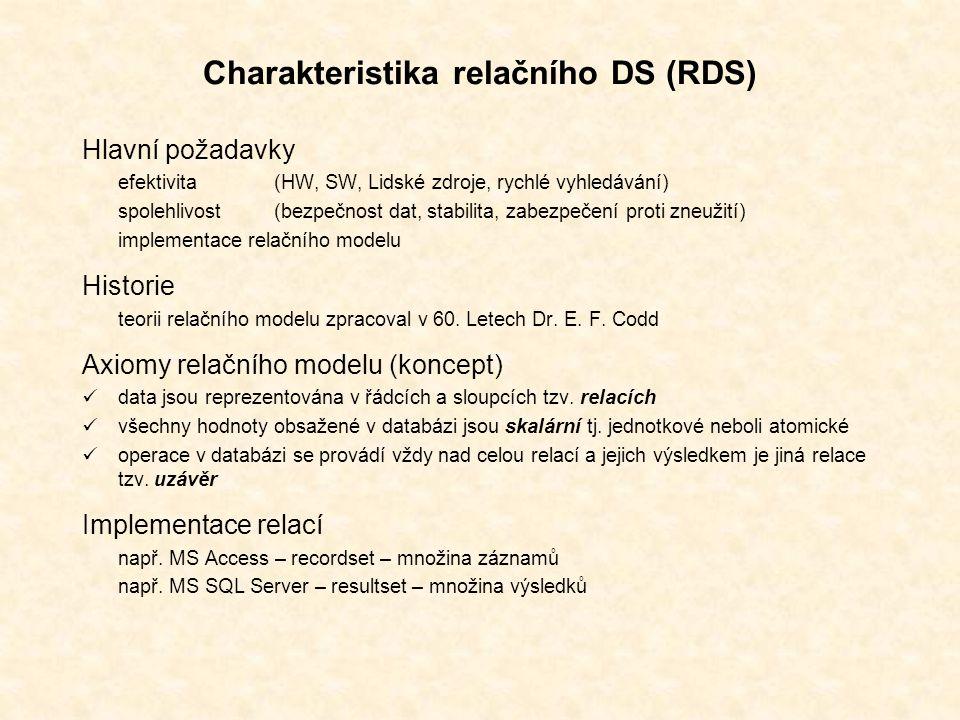 Charakteristika relačního DS (RDS) Hlavní požadavky efektivita (HW, SW, Lidské zdroje, rychlé vyhledávání) spolehlivost(bezpečnost dat, stabilita, zabezpečení proti zneužití) implementace relačního modelu Historie teorii relačního modelu zpracoval v 60.