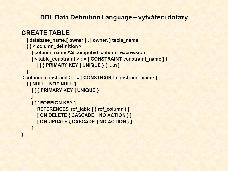 DDL Data Definition Language – vytvářecí dotazy CREATE TABLE [ database_name.[ owner ].