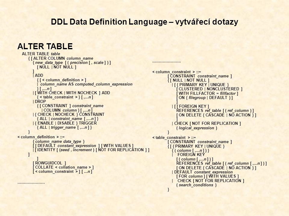 DDL Data Definition Language – vytvářecí dotazy ALTER TABLE ALTER TABLE table { [ ALTER COLUMN column_name { new_data_type [ ( precision [, scale ] ) ] [ NULL | NOT NULL ] ] | ADD { [ ] | column_name AS computed_column_expression } [,...n ] | [ WITH CHECK | WITH NOCHECK ] ADD { } [,...n ] | DROP { [ CONSTRAINT ] constraint_name | COLUMN column } [,...n ] | { CHECK | NOCHECK } CONSTRAINT { ALL | constraint_name [,...n ] } | { ENABLE | DISABLE } TRIGGER { ALL | trigger_name [,...n ] } } ::= { column_name data_type } [ [ DEFAULT constant_expression ] [ WITH VALUES ] | [ IDENTITY [ (seed, increment ) [ NOT FOR REPLICATION ] ] ] ] [ ROWGUIDCOL ] [ COLLATE ] [ ] [...n ] ………………… ………………….