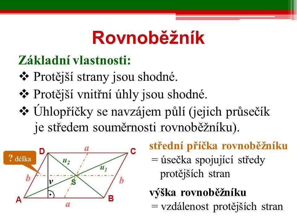 Rozdělení rovnoběžníků 1) podle velikosti úhlů  pravoúhlé 2) podle délek stran - obdélník, čtverec  kosoúhlé - kosodélník, kosočtverec  rovnostranné - čtverec, kosočtverec  různostranné - obdélník, kosodélník tětivový 4-úhelník - lze mu opsat kružnici tečnový 4-úhelník - lze mu kružnici vepsat deltoid - jeho úhlopříčky jsou k sobě kolmé a jedna z nich prochází středem druhé
