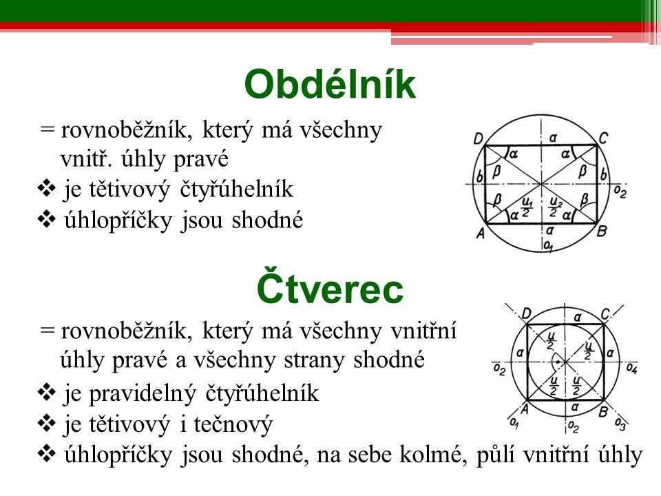  je pravidelný čtyřúhelník  je tětivový i tečnový  úhlopříčky jsou shodné, na sebe kolmé, půlí vnitřní úhly Obdélník = rovnoběžník, který má všechn