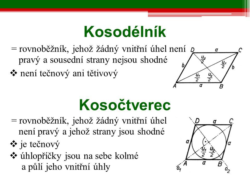  je tečnový  úhlopříčky jsou na sebe kolmé a půlí jeho vnitřní úhly Kosodélník = rovnoběžník, jehož žádný vnitřní úhel není pravý a sousední strany