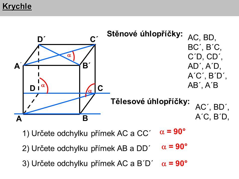 Krychle A B CD A´A´ B´ C´D´ 1) Určete odchylku přímek AC a CC´ Stěnové úhlopříčky: AC, BD, BC´, B´C, C´D, CD´, AD´, A´D, A´C´, B´D´, AB´, A´B Tělesov