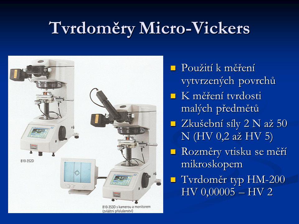 Tvrdoměry Micro-Vickers Použití k měření vytvrzených povrchů Použití k měření vytvrzených povrchů K měření tvrdosti malých předmětů K měření tvrdosti malých předmětů Zkušební síly 2 N až 50 N (HV 0,2 až HV 5) Zkušební síly 2 N až 50 N (HV 0,2 až HV 5) Rozměry vtisku se měří mikroskopem Rozměry vtisku se měří mikroskopem Tvrdoměr typ HM-200 HV 0,00005 – HV 2 Tvrdoměr typ HM-200 HV 0,00005 – HV 2