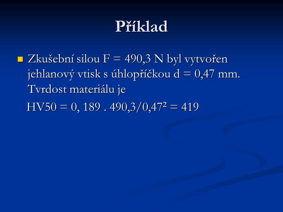 Příklad Zkušební silou F = 490,3 N byl vytvořen jehlanový vtisk s úhlopříčkou d = 0,47 mm.