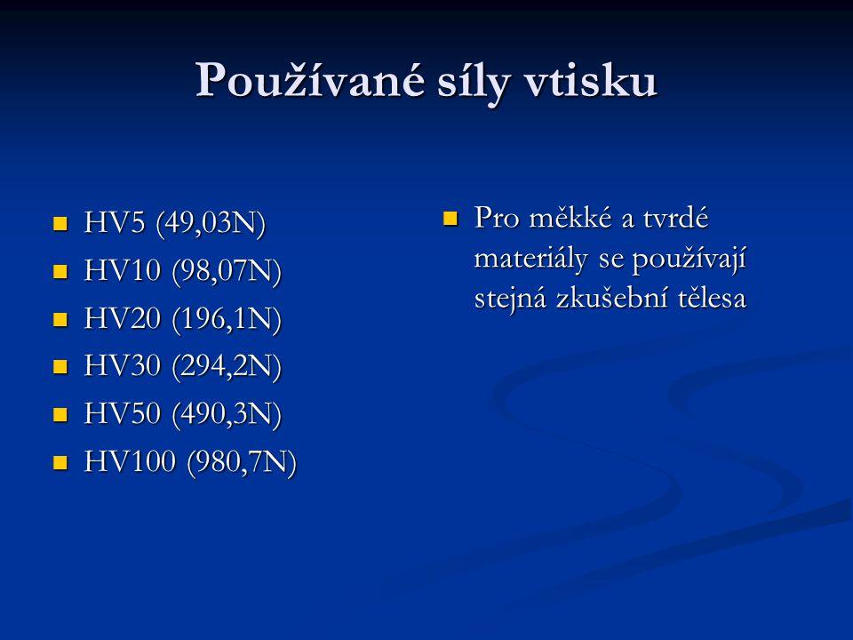 HV5 (49,03N) HV5 (49,03N) HV10 (98,07N) HV10 (98,07N) HV20 (196,1N) HV20 (196,1N) HV30 (294,2N) HV30 (294,2N) HV50 (490,3N) HV50 (490,3N) HV100 (980,7N) HV100 (980,7N) Pro měkké a tvrdé materiály se používají stejná zkušební tělesa Používané síly vtisku