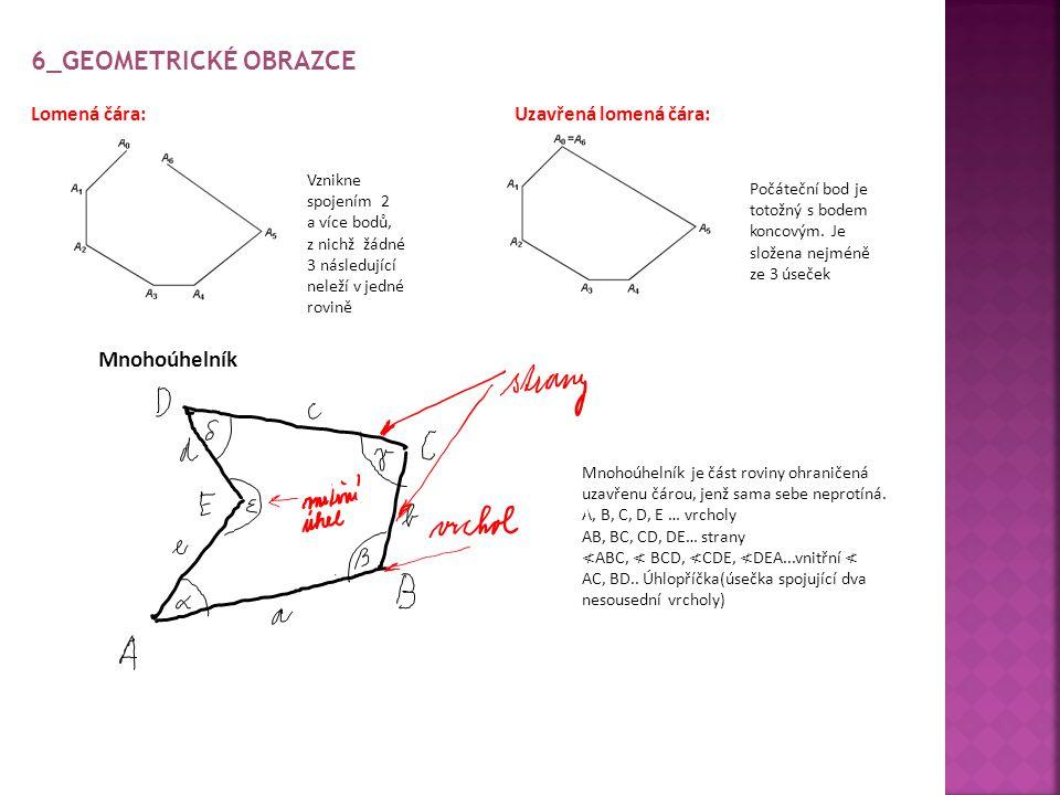 6_GEOMETRICKÉ OBRAZCE Lomená čára: Uzavřená lomená čára: Mnohoúhelník Mnohoúhelník je část roviny ohraničená uzavřenu čárou, jenž sama sebe neprotíná.