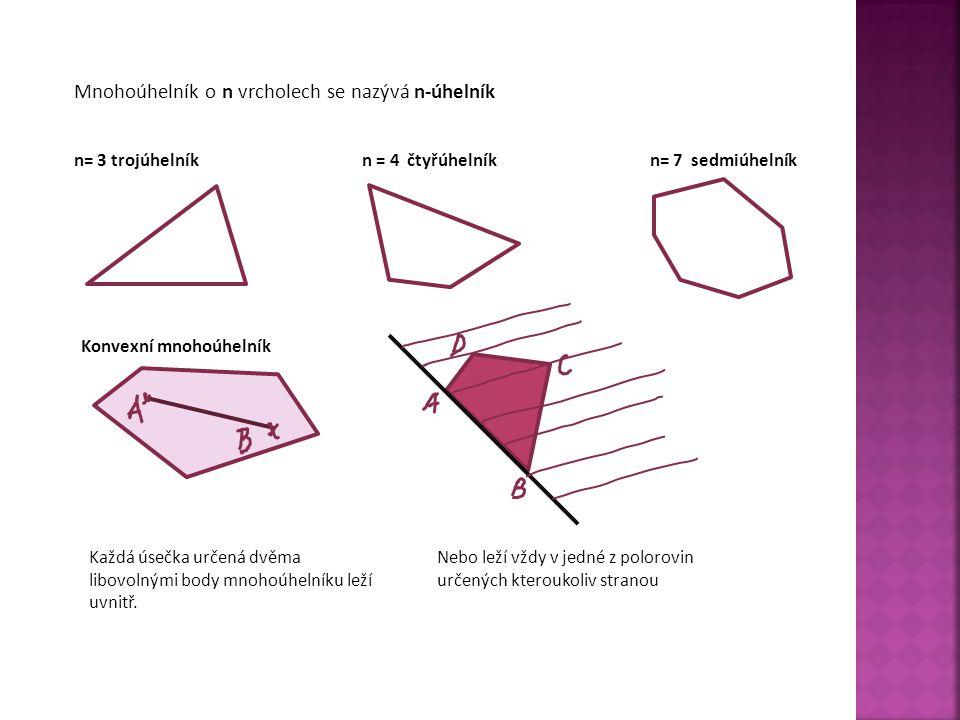 Mnohoúhelník o n vrcholech se nazývá n-úhelník n= 3 trojúhelníkn = 4 čtyřúhelníkn= 7 sedmiúhelník Konvexní mnohoúhelník Každá úsečka určená dvěma libovolnými body mnohoúhelníku leží uvnitř.