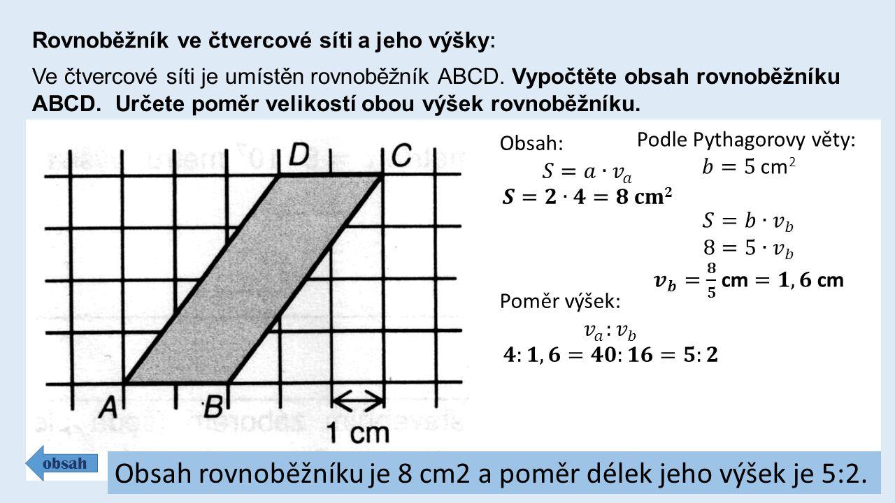Rovnoběžník ve čtvercové síti a jeho výšky : Ve čtvercové síti je umístěn rovnoběžník ABCD.