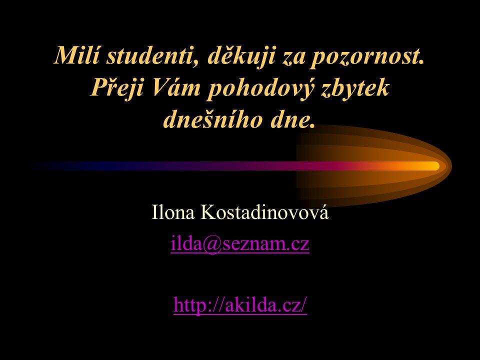 Milí studenti, děkuji za pozornost. Přeji Vám pohodový zbytek dnešního dne. Ilona Kostadinovová ilda@seznam.cz http://akilda.cz/