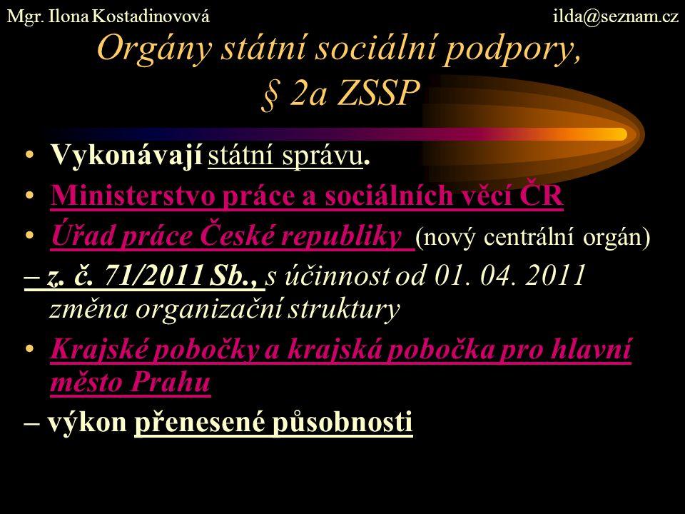Orgány státní sociální podpory, § 2a ZSSP Vykonávají státní správu. Ministerstvo práce a sociálních věcí ČR Úřad práce České republiky (nový centrální