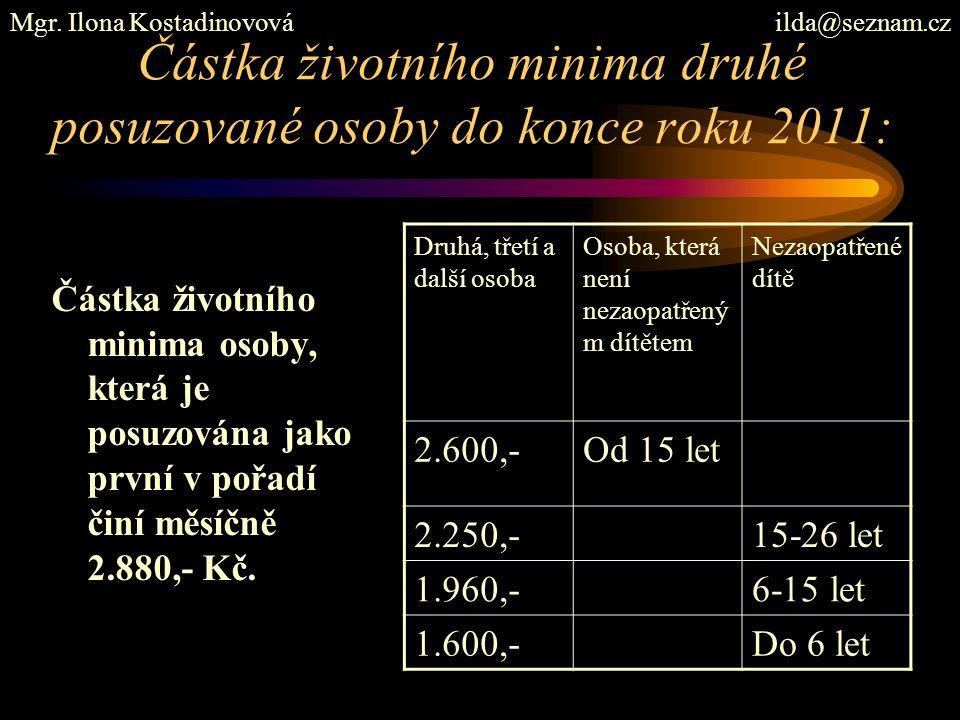 Částka životního minima druhé posuzované osoby do konce roku 2011: Částka životního minima osoby, která je posuzována jako první v pořadí činí měsíčně