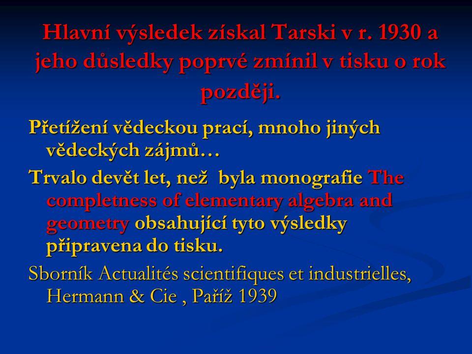 Hlavní výsledek získal Tarski v r. 1930 a jeho důsledky poprvé zmínil v tisku o rok později.