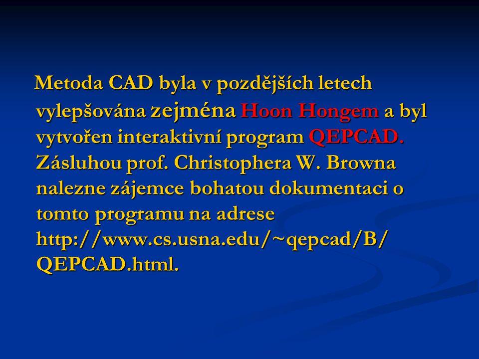 Metoda CAD byla v pozdějších letech vylepšována zejména Hoon Hongem a byl vytvořen interaktivní program QEPCAD.