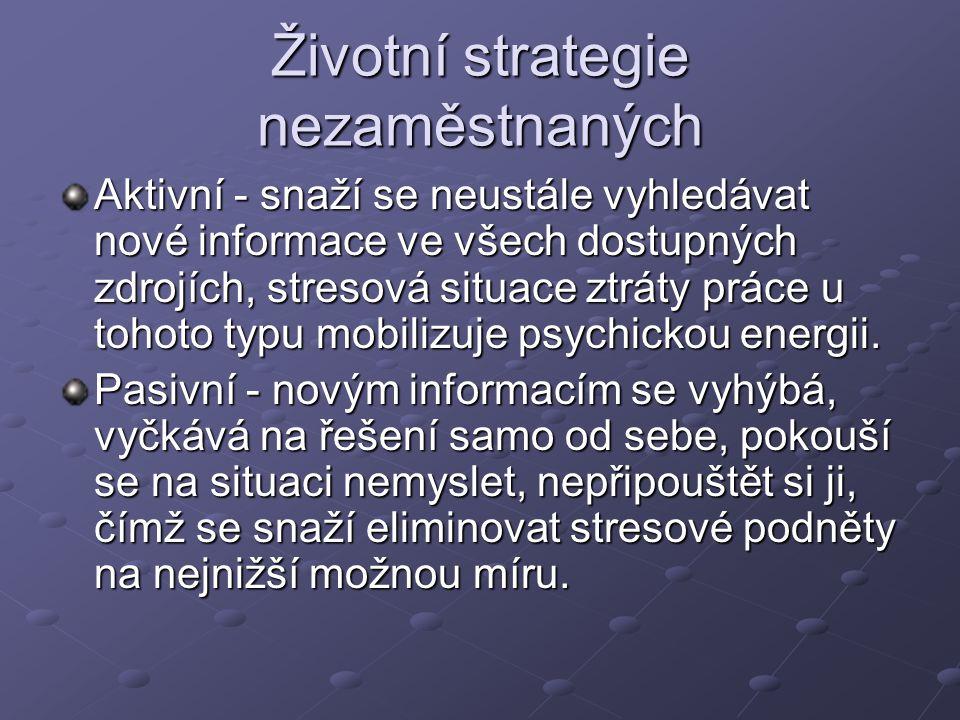 Životní strategie nezaměstnaných Aktivní - snaží se neustále vyhledávat nové informace ve všech dostupných zdrojích, stresová situace ztráty práce u tohoto typu mobilizuje psychickou energii.