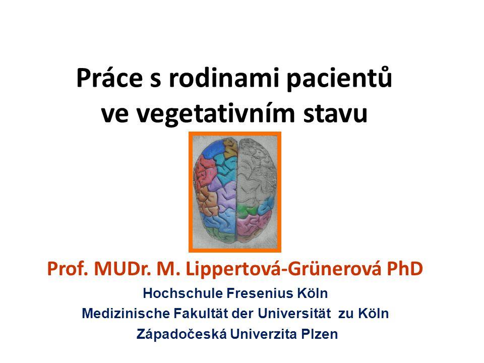 Práce s rodinami pacientů ve vegetativním stavu Prof. MUDr. M. Lippertová-Grünerová PhD Hochschule Fresenius Köln Medizinische Fakultät der Universitä