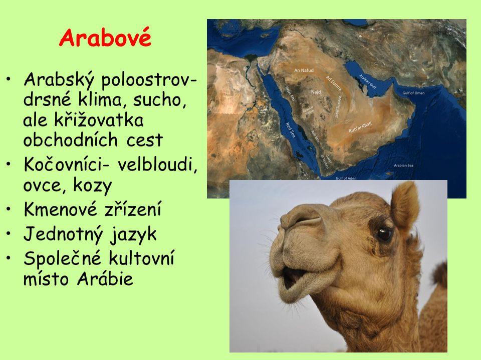 Arabové Arabský poloostrov- drsné klima, sucho, ale křižovatka obchodních cest Kočovníci- velbloudi, ovce, kozy Kmenové zřízení Jednotný jazyk Společné kultovní místo Arábie